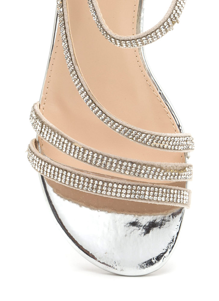 Bling It Up Strappy Metallic Heels SILVER