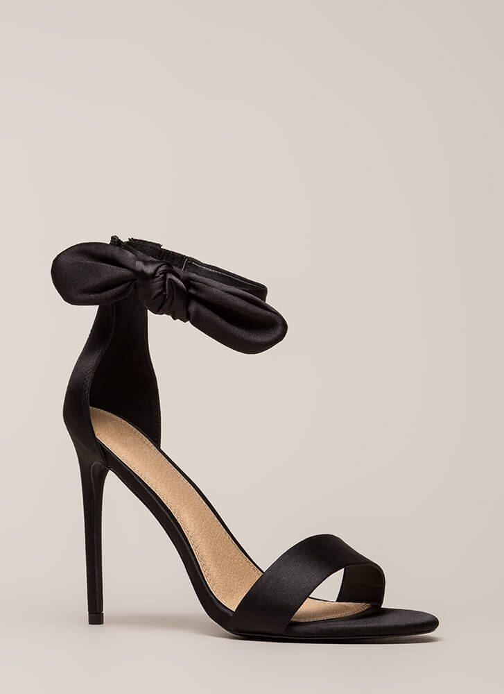 Pretty Present Satin Bow Heels BLACK
