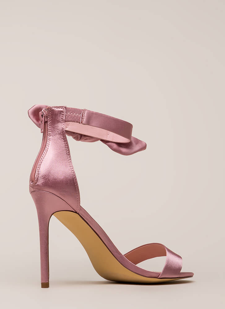 Pretty Present Satin Bow Heels DUSTYPINK