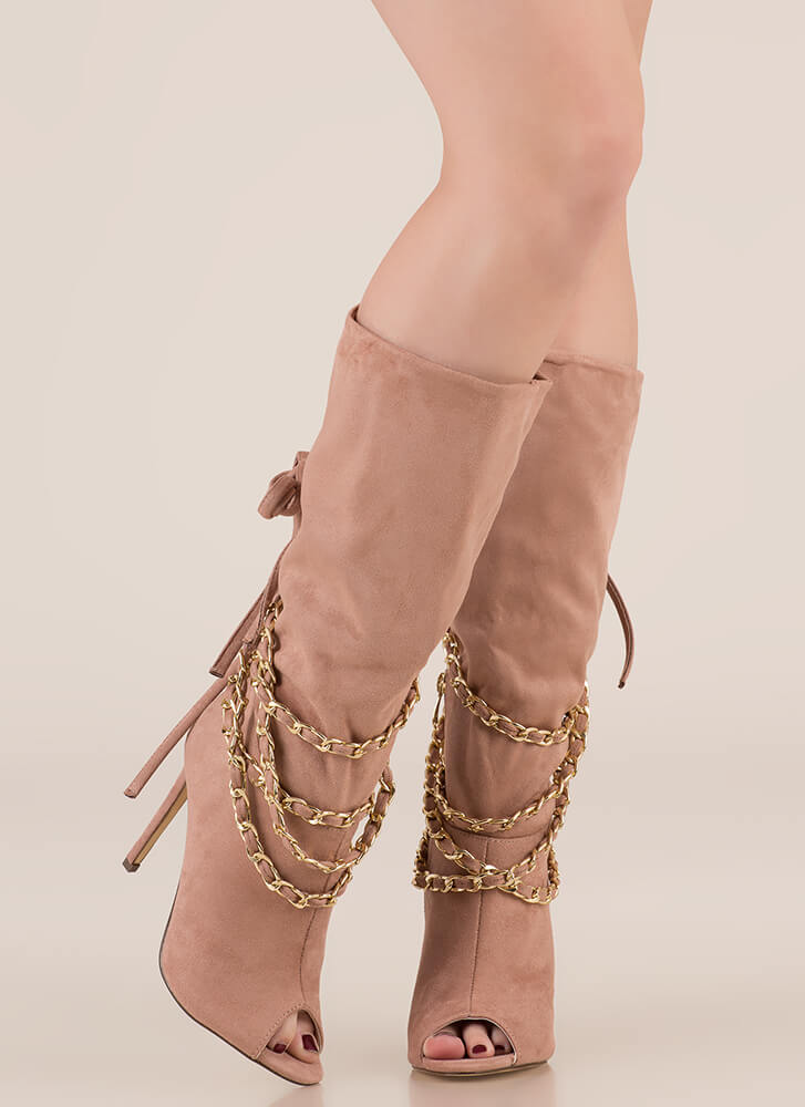 New Chain-ge Tied Faux Suede Boots MAUVE