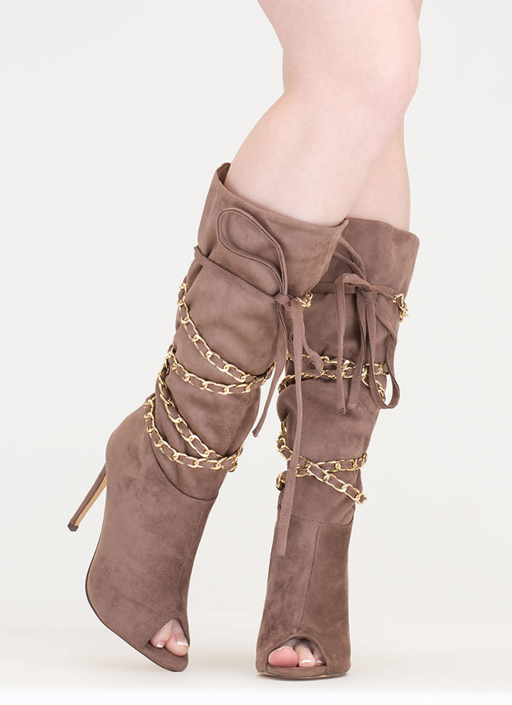 New Chain-ge Tied Faux Suede Boots TAUPE