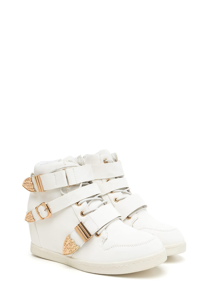 Off Duty Uniform Strappy Sneaker Wedges WHITE