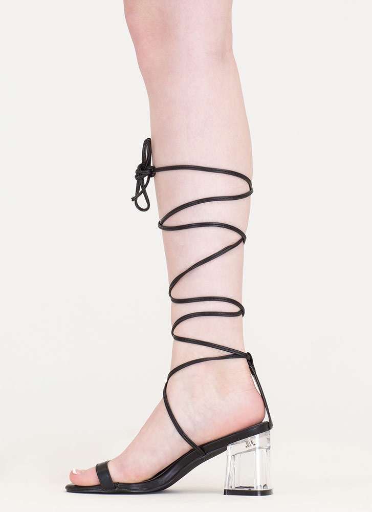 Clear The Air Chunky Lace-Up Heels BLACK