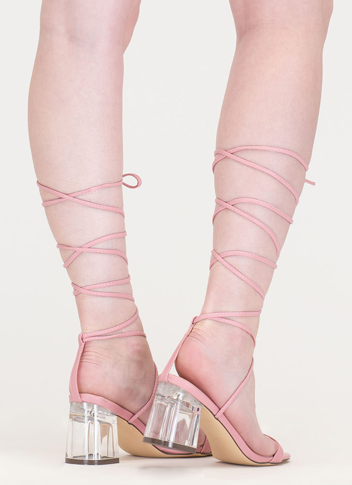 Clear The Air Chunky Lace-Up Heels DUSTYPINK