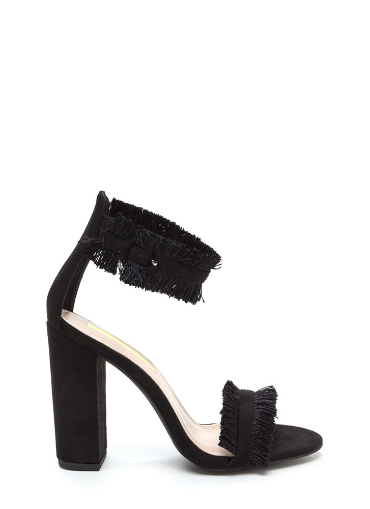 Fringe Off Chunky Faux Suede Heels BLACK