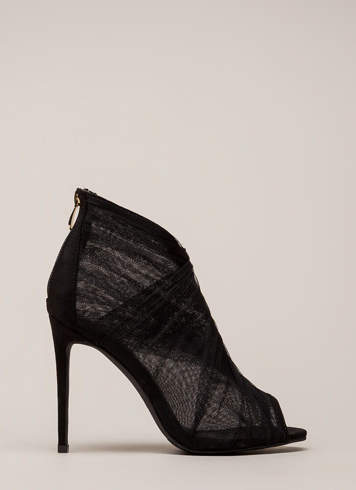 Sheer You Are Peep-Toe Heels BLACK