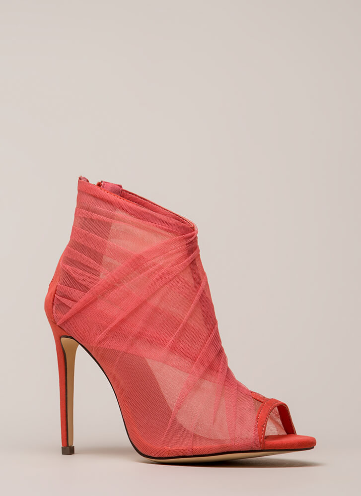 Sheer You Are Peep-Toe Heels CORAL