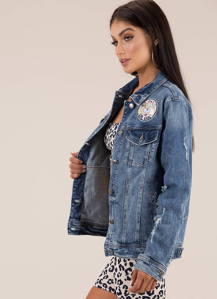 Girl Gang Distressed Denim Jacket DKBLUE