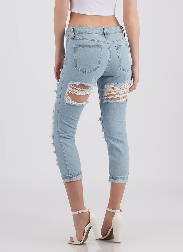 Darling Denim Distressed Cropped Jeans LTBLUE (Final Sale)