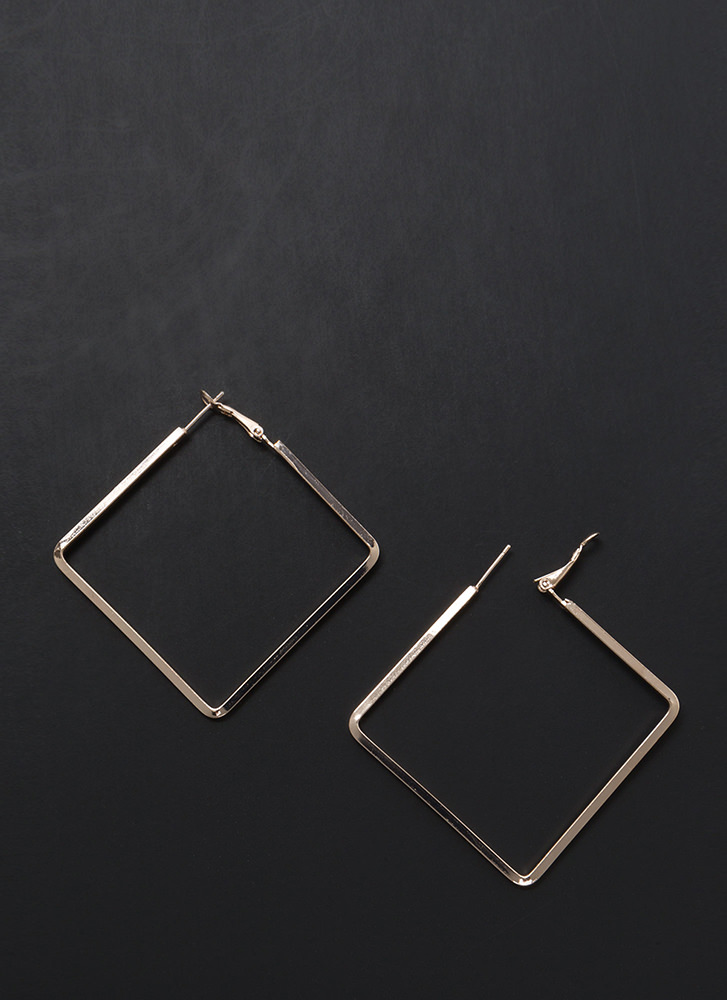 Square Deal Skinny Minimal Earrings ROSEGOLD