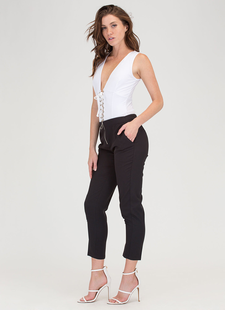 Ring It On Zippered Cropped Trousers BLACK