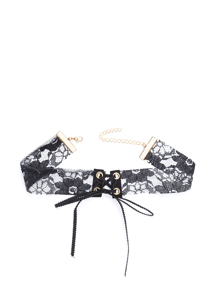 In Your Lace Sheer Tied Choker BLACKGOLD