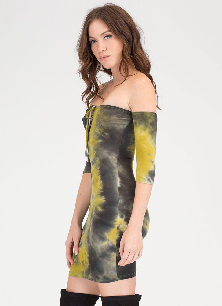 Beach Bae Tie-Dye Off-Shoulder Dress GREEN