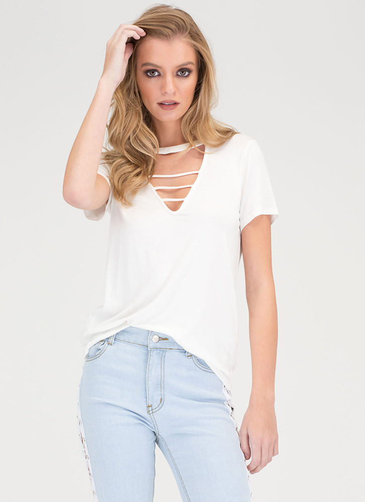 Straight To The Top Caged Cut-Out Top WHITE