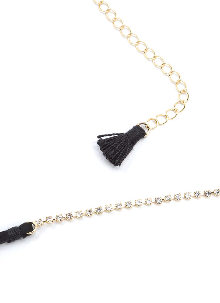 Little Sparkle Skinny Rhinestone Choker BLACK
