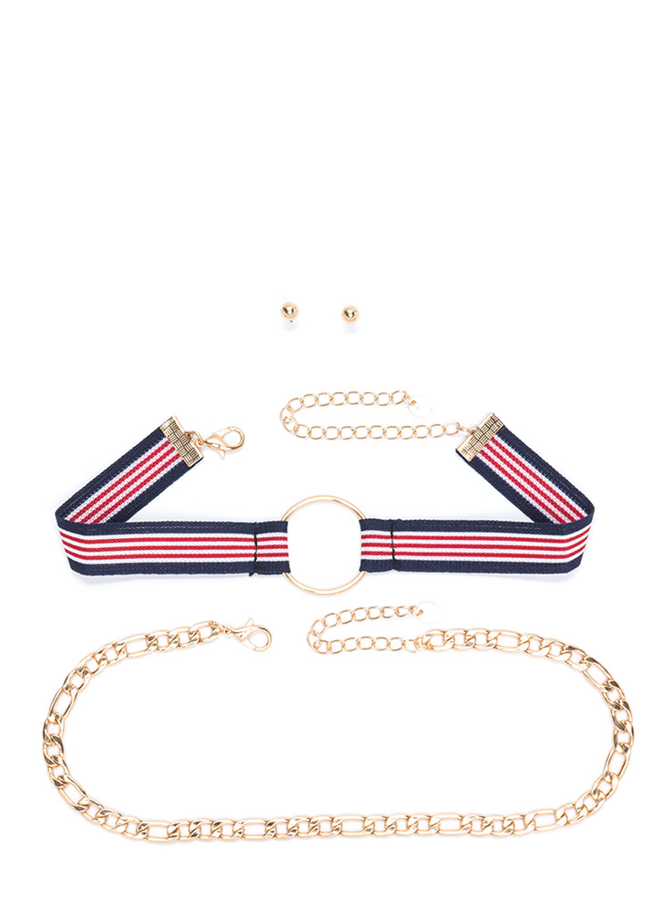 Go On Stripes Chain 'N Choker Set GOLDRED