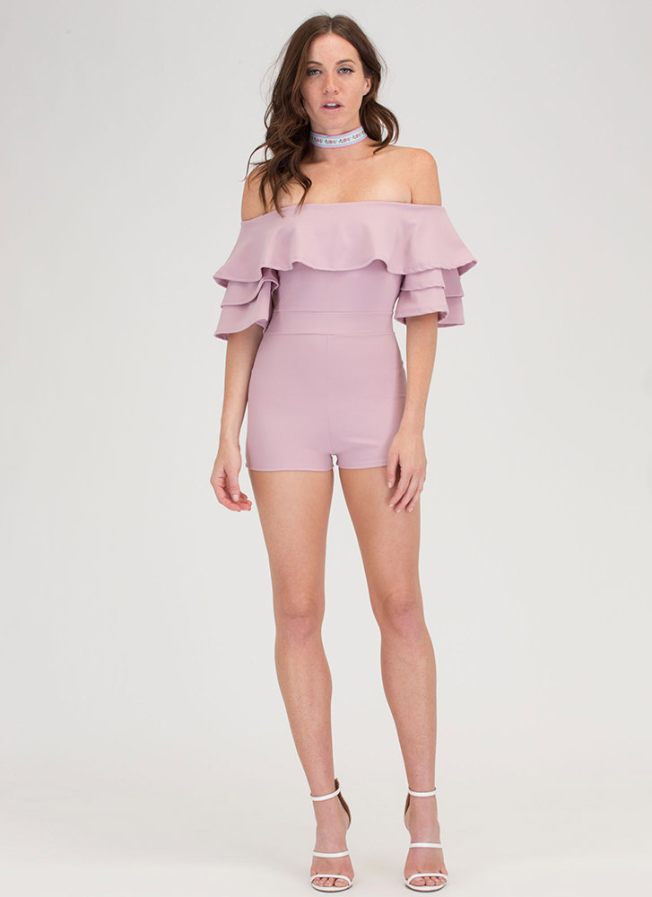 Sweet Touch Ruffled Off-Shoulder Romper PINK