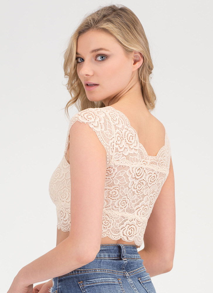 Set The Lace Plunging Bralette NUDE