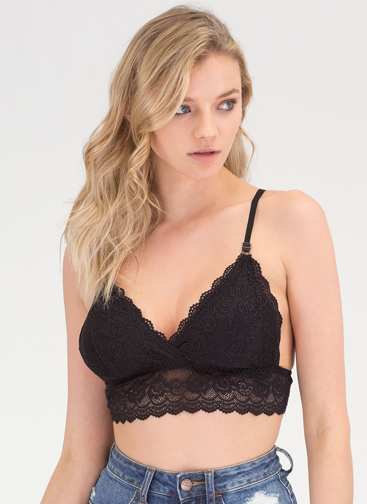 Under A Spell Strappy Lace Bralette BLACK