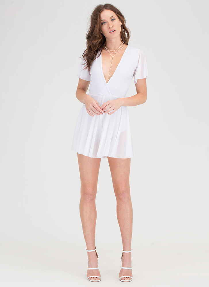 Memorable Style Sheer Plunging Romper WHITE