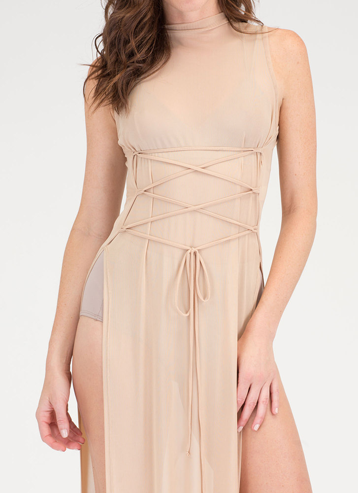 Hot Mesh Lace-Up Double Slit Maxi TAUPE