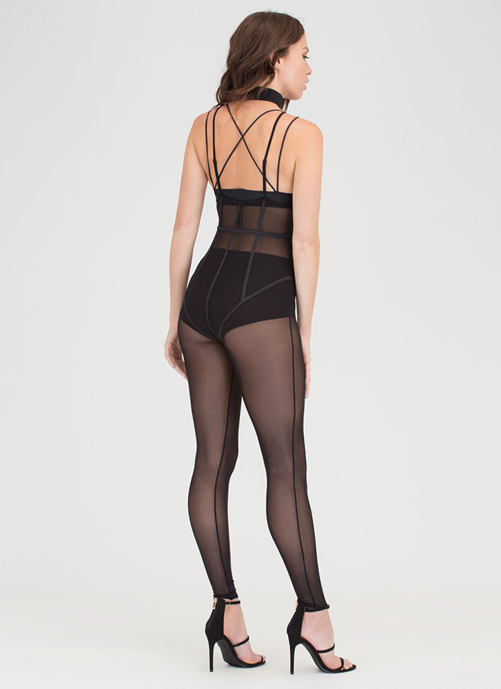 Sheer About It Caged Mesh Jumpsuit BLACK