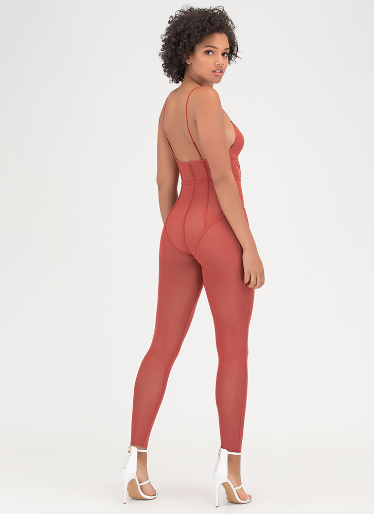 Sheer About It Caged Mesh Jumpsuit RUST