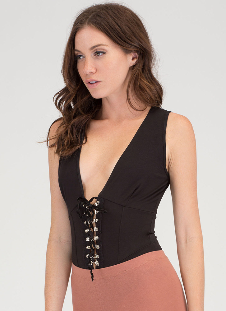 Of Corset Plunging Lace-Up Bodysuit BLACK
