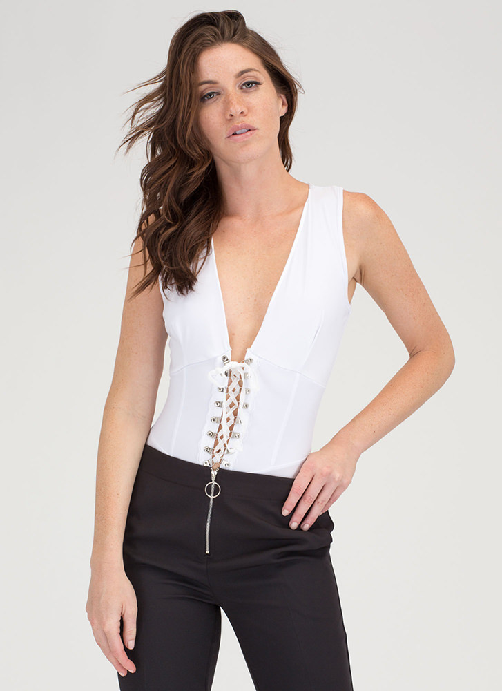 Of Corset Plunging Lace-Up Bodysuit WHITE