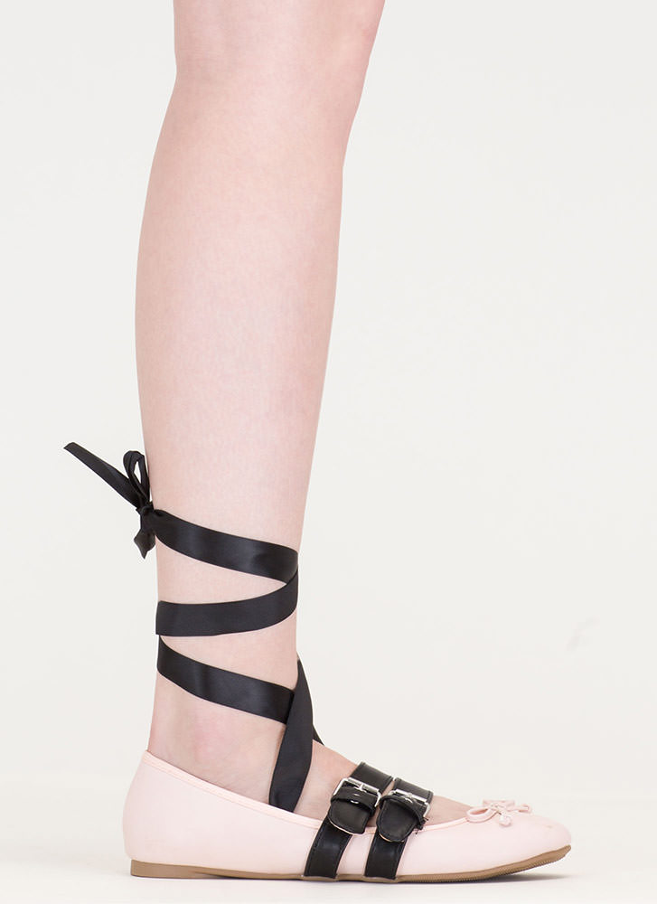 New Look Tied 'N Buckled Ballet Flats NUDE