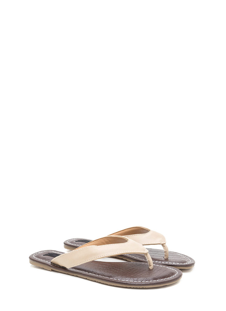 Scale It Back Faux Leather Thong Sandals NATURAL