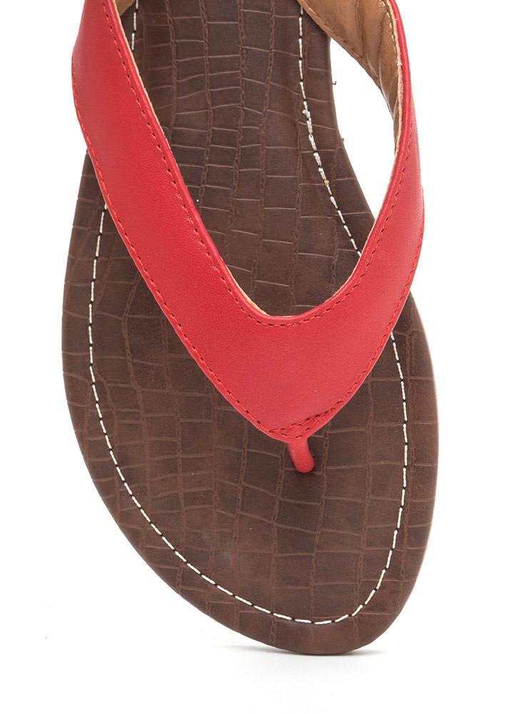 Scale It Back Faux Leather Thong Sandals RED
