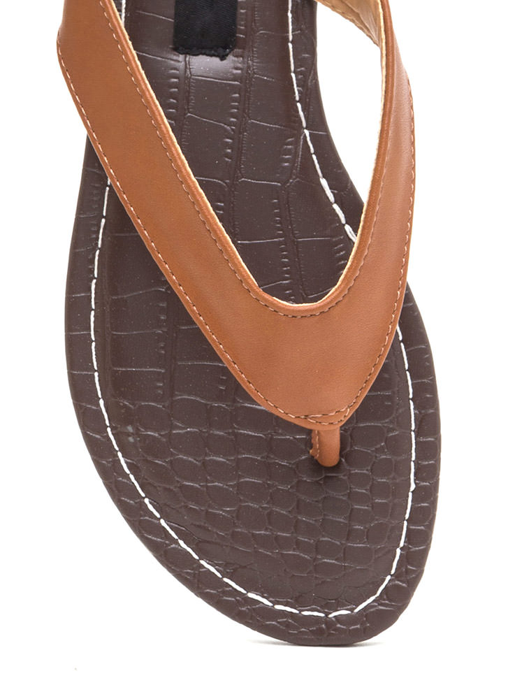 Scale It Back Faux Leather Thong Sandals WHISKY