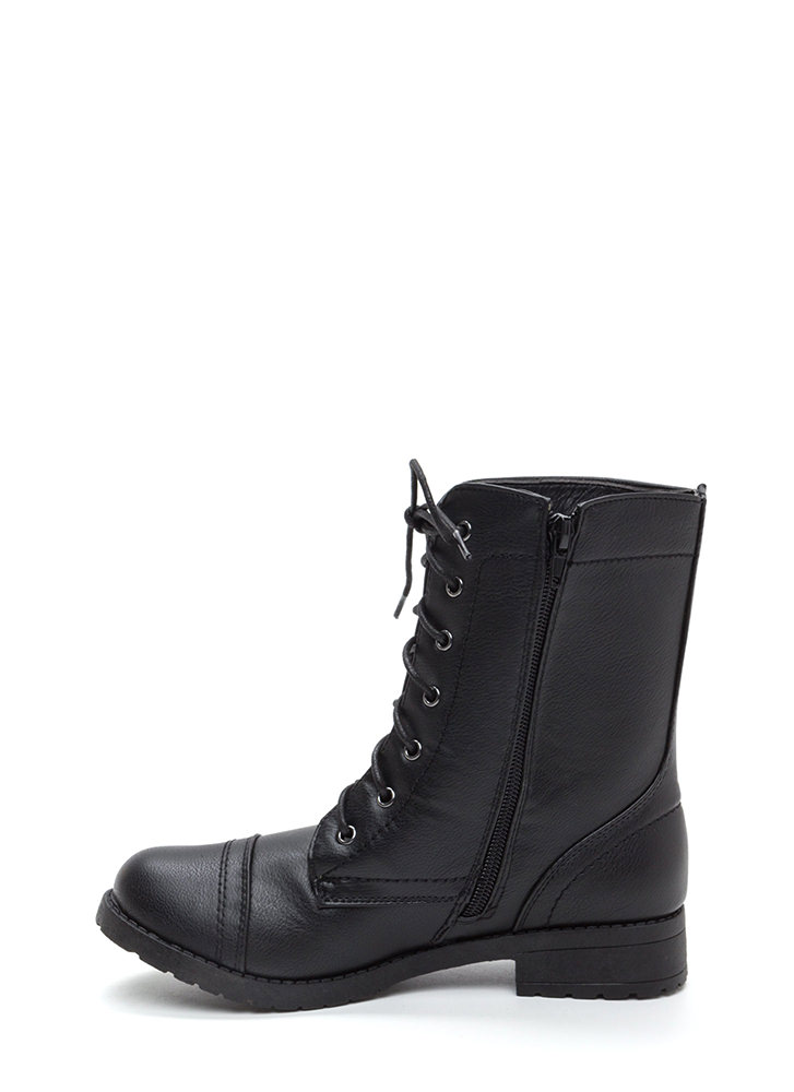 Ready To Go Lace-Up Combat Boots BLACK
