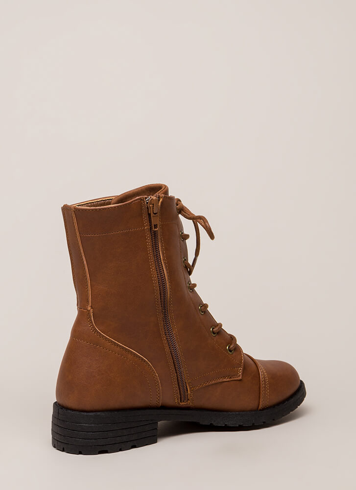 Ready To Go Lace-Up Combat Boots COGNAC