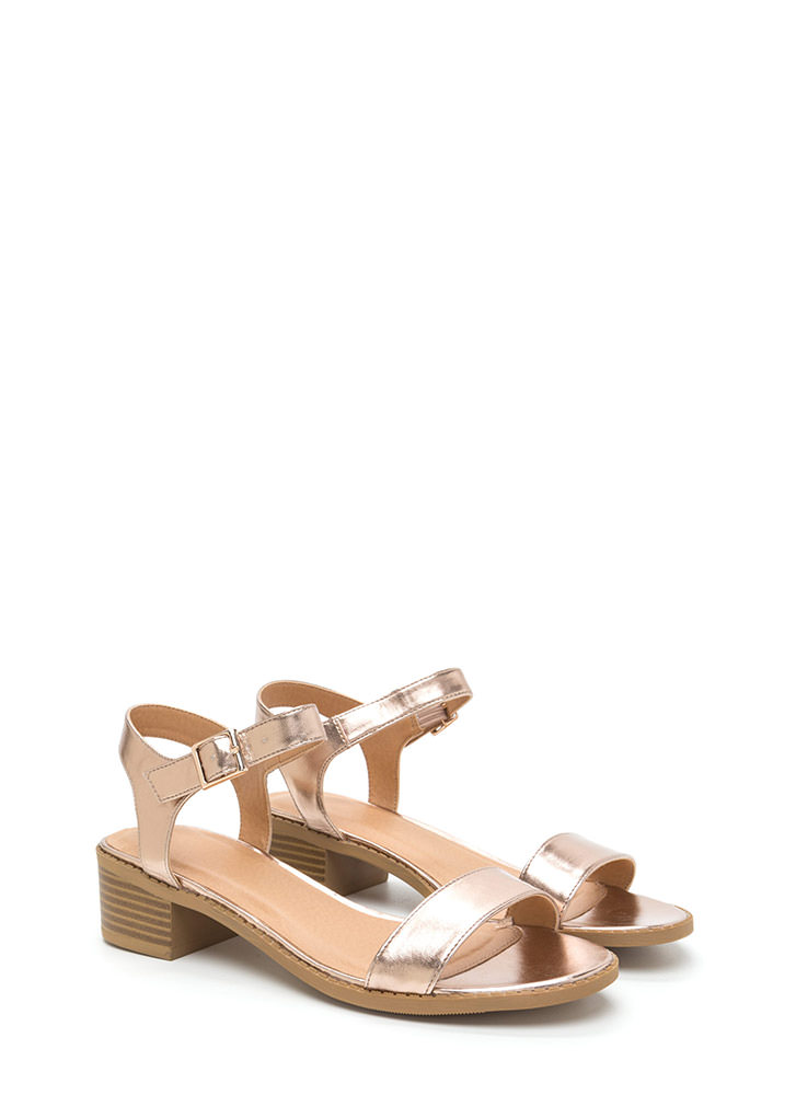Outside The Box Metallic Block Heels ROSEGOLD