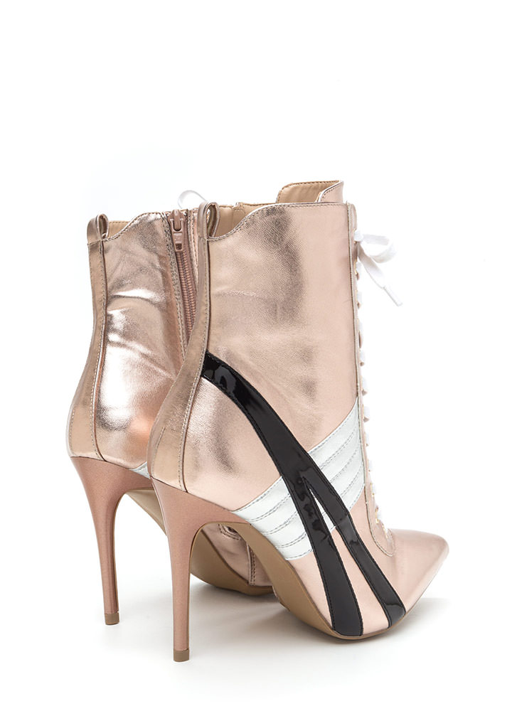 Sport These Metallic Lace-Up Booties ROSEGOLD (Final Sale)