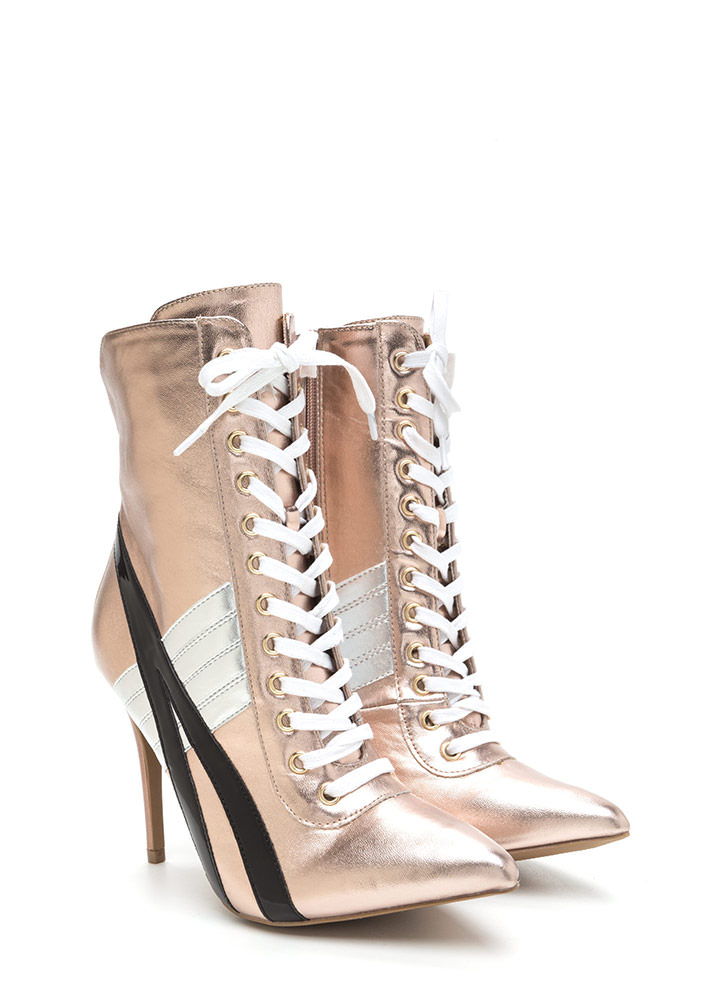 Sport These Metallic Lace-Up Booties ROSEGOLD
