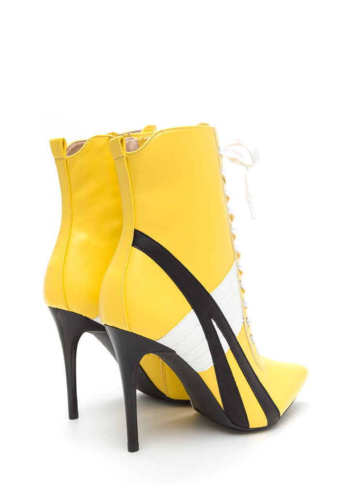 Sport These Pointy Lace-Up Booties MUSTARD