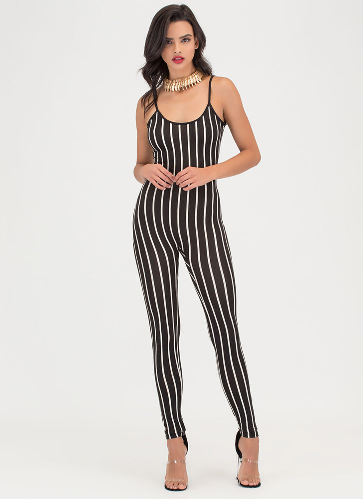 Out 'N About Plunging Striped Jumpsuit BLACKWHITE