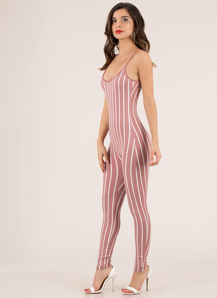 Out 'N About Plunging Striped Jumpsuit MAUVEWHITE (You Saved $9)