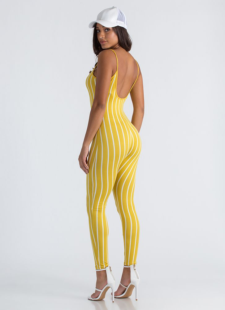 Out 'N About Plunging Striped Jumpsuit MUSTARDWHT
