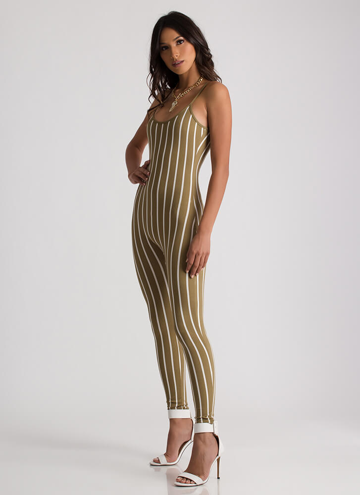 Out 'N About Plunging Striped Jumpsuit OLIVEWHITE