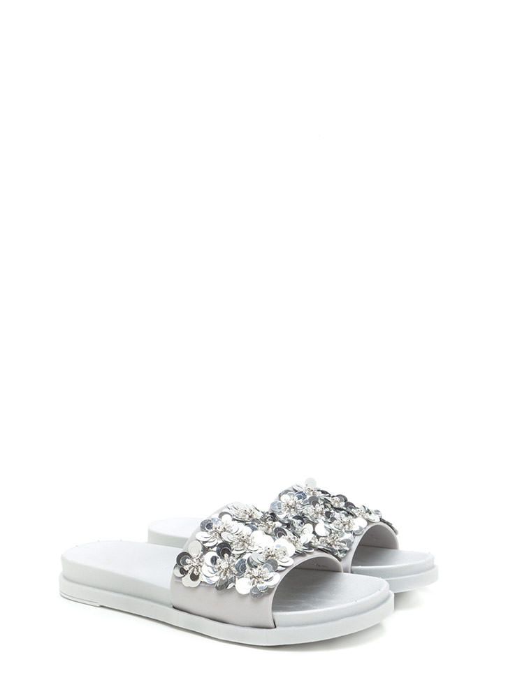 So Adorn-able Sequined Slide Sandals SILVER