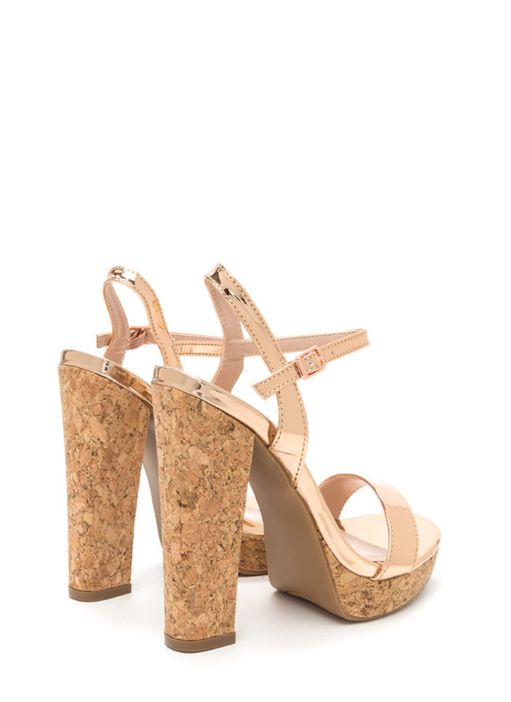Cork It Chunky Faux Patent Platforms ROSEGOLD
