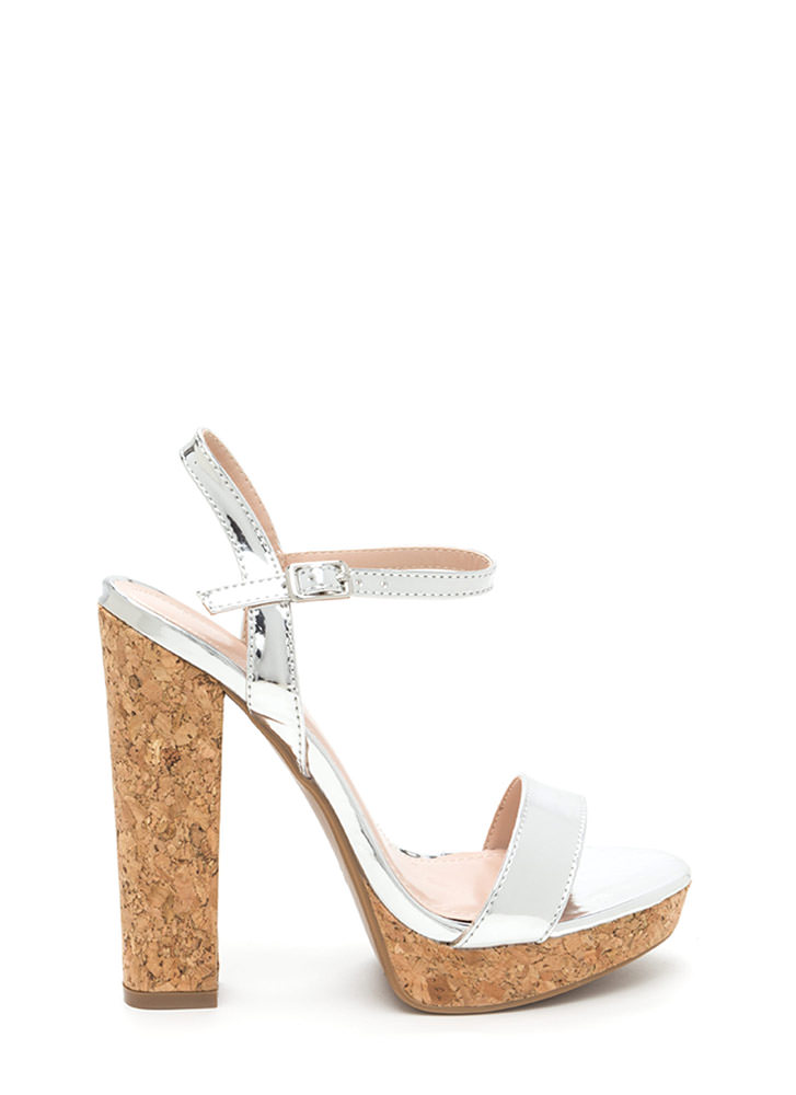Cork It Chunky Faux Patent Platforms SILVER