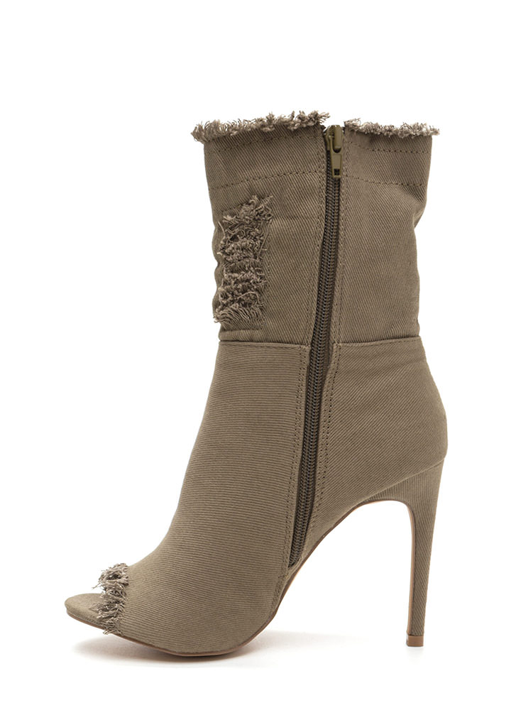 Fray Along Distressed Peep-Toe Booties KHAKI