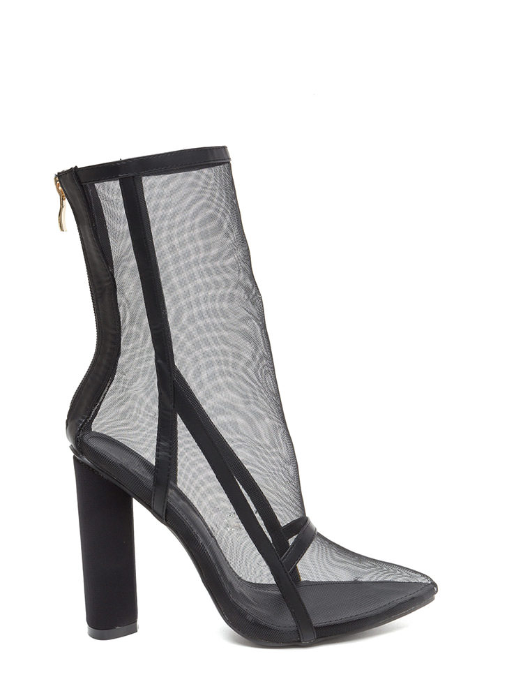 Game Point Chunky Netted Mesh Booties BLACK