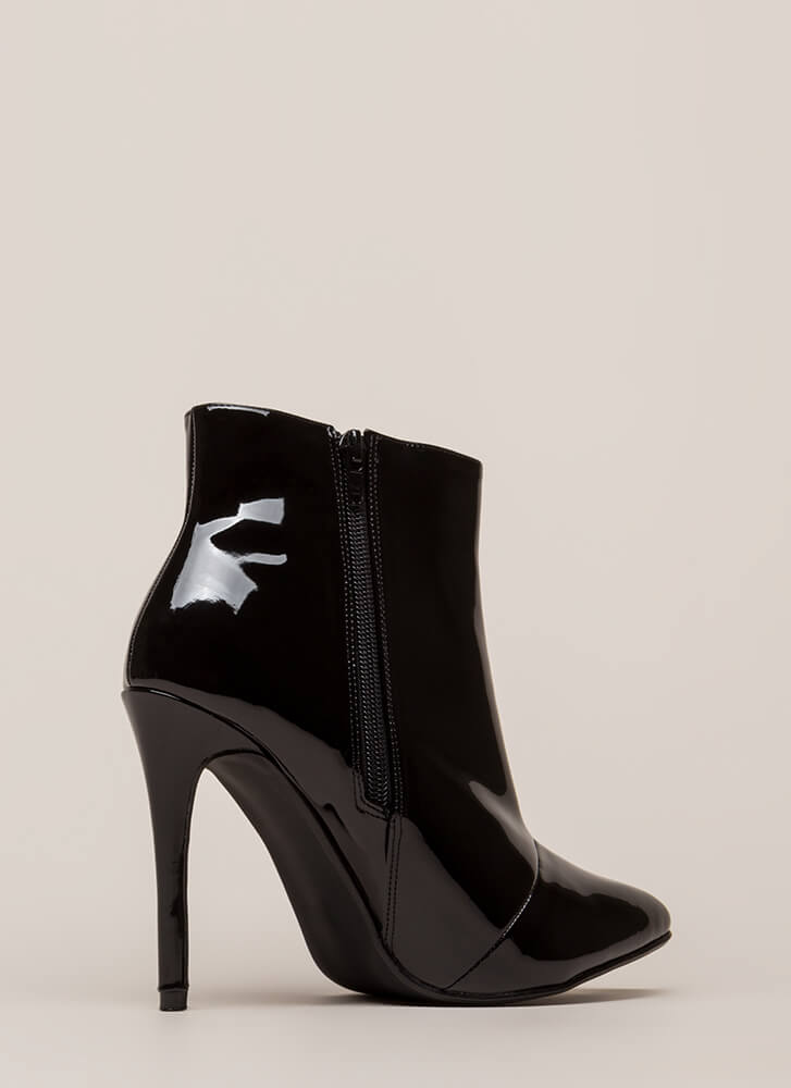 Point Value Faux Patent Booties BLACK
