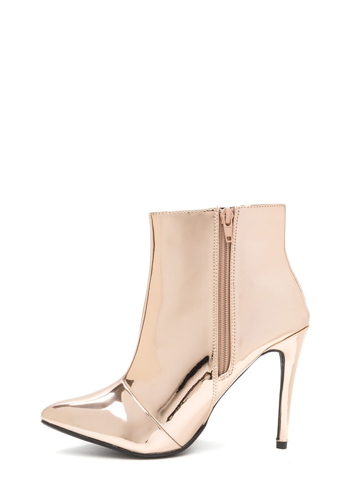 Point Value Metallic Faux Patent Booties ROSEGOLD